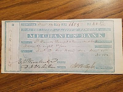 1850 Canceled Bank Check Pay Warrant Paper Money Signed By New York City Mayor