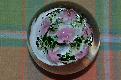 Vintage Signed Studio Art Glass Paperweight B. Kingsbey 1994 Green, Pink & White