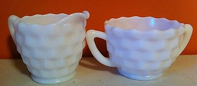 Vintage Opaque White Milk Glass Cubed Pattern Sugar And Creamer
