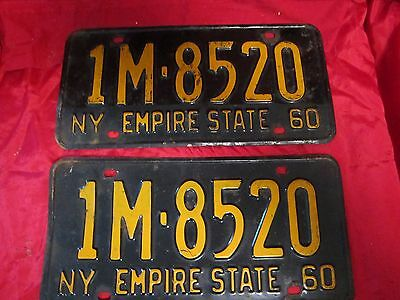 1960 New York License Plate nice matched pair  Empire State