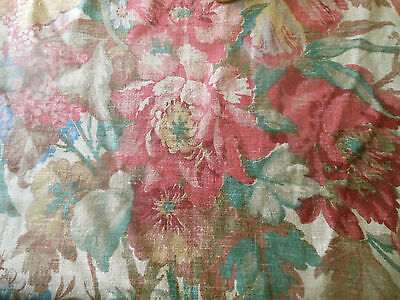 Antique Lg. Floral Bouquet Linen Fabric ~ Rose Pink Green Blue Caramel Red