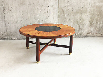 1960's rare G Plan mid century circular coffee table with smoked glass inset