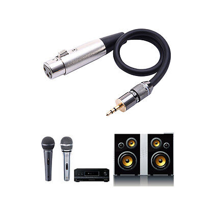 3 Pin 3.5mm Male Stereo TRS Jack to XLR Female Microphone Cable Cord Black 30cm