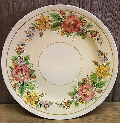 "Homer Laughlin Eggshell Georgian 6.25"" Plate Flowers Embossed Edge H40N5 RARE"