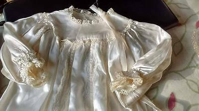 Vintage Handmade Ivory silk & lace baby christening gown & bonnet