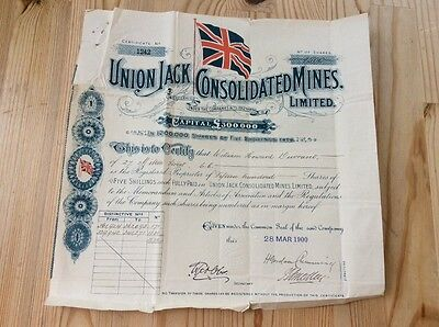 Union Jack Consolidated Mines Ltd. Share Certificate 1900