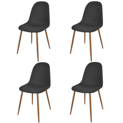 Set of 4 Dining Vintage Chairs Retro Seat Fabric Kitchen Dining Room Dark Grey