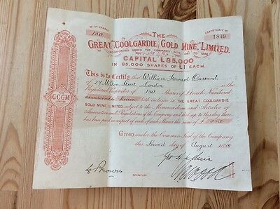 The Great Coolgardie Gold Mine Ltd. Share Certificate 1898