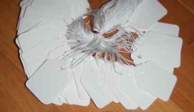 """New LOT OF 100 PRICE TAGS BLANK WHITE #3 STRUNG 7/8"""" x 1-5/16""""Medium Pricing Tag"""