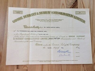 Goode Durante & Murray (Consolidated) Ltd. Shares Certificate 1961