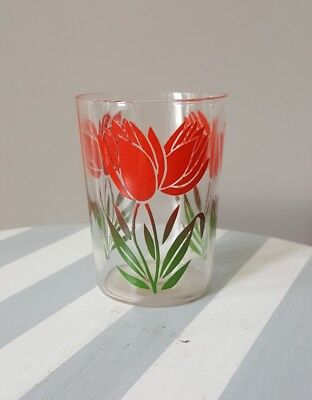 Vintage Swanky Swig Juice Glasses Tulip Flower Green Leaves Red ONE 1 3 1/4""