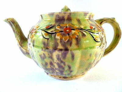 Antique Mac Gibsons Staffordshire Teapot Handpainted--Green Floral Pattern