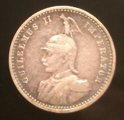 1909 A German East Africa 1/4 Rupee Silver Coin