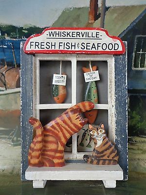 Folk Art Cat 3-D Wall Hanging Whiskerville Fresh Fish & Seafood ~ FREE SHIPPING