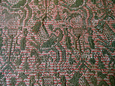 Antique 19thc Woven Jacquard Wool Fabric ~ Animals ~ Lion Bird Horse ~ Olive Red
