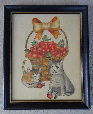Cat Theorem Painting Framed Cats with Basket of Cherries R.P. ~ FREE SHIPPING