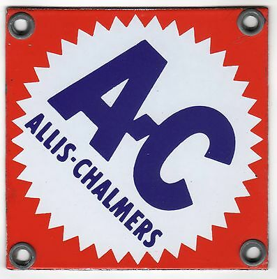 BEAUTIFUL! Allis-Chalmers Porcelain Sign 4'' by 4'' *HTF Bright Colors!
