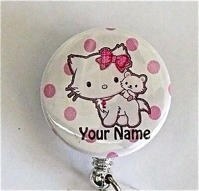 Charmmy Kitty Id Badge Reel Retractable, Medical, Midwife, Nurse, Tech,
