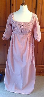 "Regency Napoleonic Bib Front Dress Sz 14-18  Bust 38-42"" Coral & White Stripe"