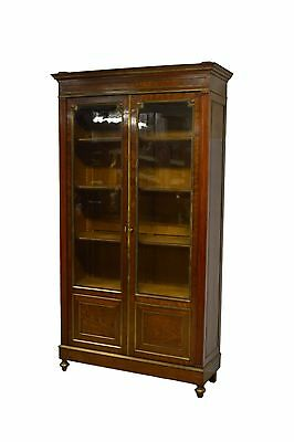 Antique Mahogany & Brass French Knock Down Two 2 Door Directoire Style Bookcase