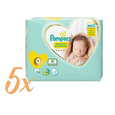 5x24 Windeln=120 Pampers Premium Protection New Baby Micro Gr. 0 Newborn 1-2,5kg
