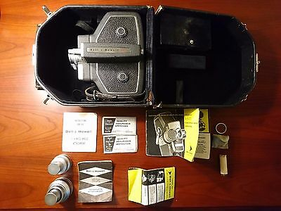 Vintage Bell & Howell 240 16mm Crank Wind Movie Film Camera with 20mm Lens, Case