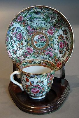 Fine Chinese Antique Porcelain Rose Medallion Demitasse Cup and Saucer