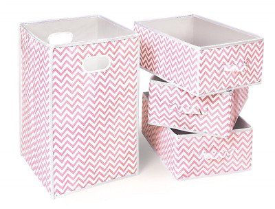 Badger Basket Folding Hamper and 3 Basket Set, Pink/White