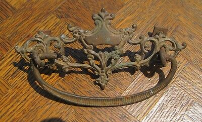 "Antique Brass Drawer Pull With Bail Handle 4 1/4"" Wide By 2 1/4""  Very Nice!"