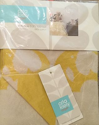 NWT Orla Kiely Reversible Baby Blanket Yellow White Elephant  Cotton Knit