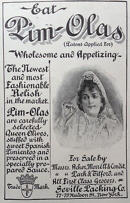 1897 Ad(1800-18)~Seville Packing Co. Ny. Pim-Olas Stuffed Queen Olives