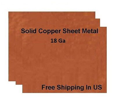 18 Ga Copper Sheet Metal, Choose Size from Variations ,available 14 Sizes