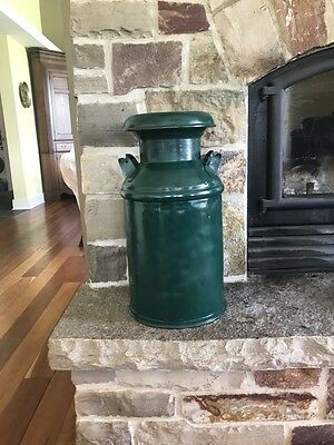 Vintage Metal 5 gallon Milk Can Green AND ready to display