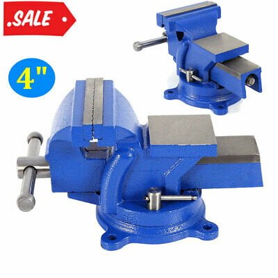 """4"""" 100mm Heavy Duty Bench Vice w/ Anvil Swivel Locking Base Table Top Clamp Base"""