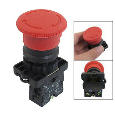 "7/8"" Large Red Mushroom Emergency Stop Push Button Switch 600V 10A NC"