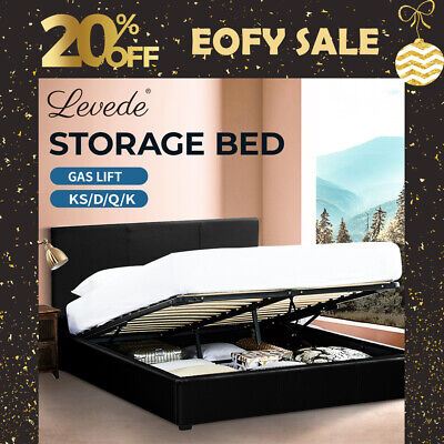 Gas Lift Storage Single Double Queen King Size Pu Leather Bed Frame