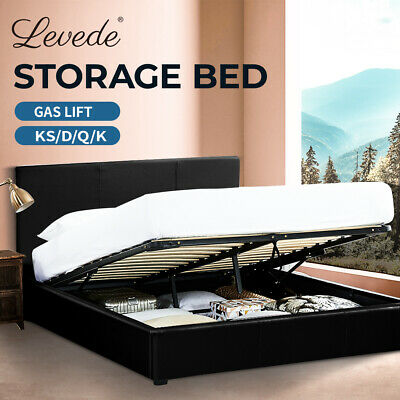 Levede GAS LIFT STORAGE SINGLE DOUBLE QUEEN KING SIZE PU LEATHER BED FRAME NEW