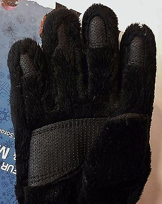 NWT Kids Gloves Winter Warm Fleece Grip Palm Thermal Fur DuPont Black Size M