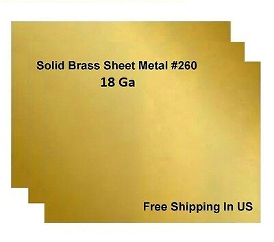 18 Ga Brass Sheet Metal, Choose Size from Variations ,available 14 Sizes
