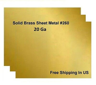 20 Ga Brass Sheet Metal, Choose Size from Variations ,available 14 Sizes