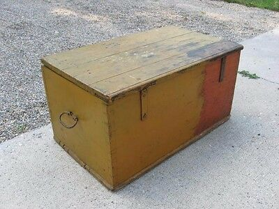 Old antique wooden trunk box chest in mustard paint