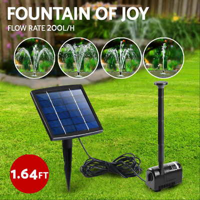Solar Power Fountain Water Pump Submersible Fish Pond Garden Kit Panel 200L/H
