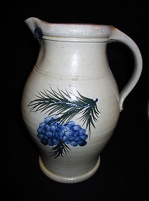 "Rowe Pottery Works Small 10.5"" Pitcher Blue Pine Cones, 2004"