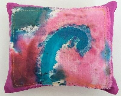 Tooth Fairy Pillow Treasure Pocket Handcrafted Batik Pink Purple Turquoise