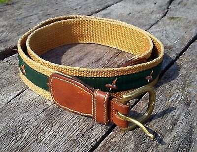 Vintage Dooney and Bourke Belt Men's Size 36 Early 1980s Leather Canvas Striped