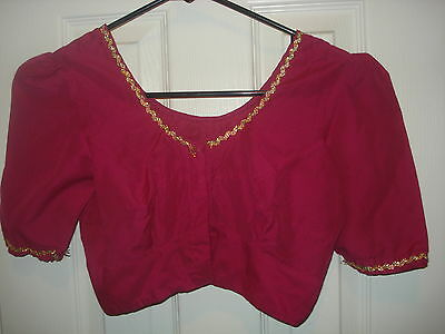"""Pre-Owened Pink With Golden Lace Blouse Fits To Bust 34""""(Usa Seller)"""