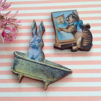 BROOCH CLEARANCE set Bunny in Bathtub + Pussycat at Mirror wood lapel pins Badge