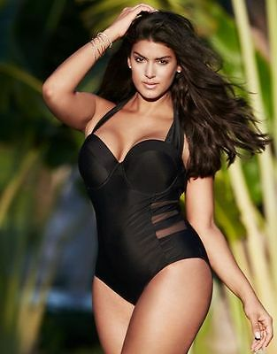 Sexy Women Plus Size Push-up Padded Bra One-piece Swimwear Halter-neck Swimsuit