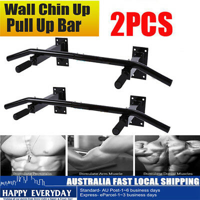 2PCS Pull Up Chin Up Bar Strength Wall Mounted Power Training Gym Suspension AU