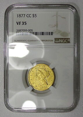 1877-CC NGC VF35 $5 gold half eagle, VERY RARE, tons of luster. AU to anyone